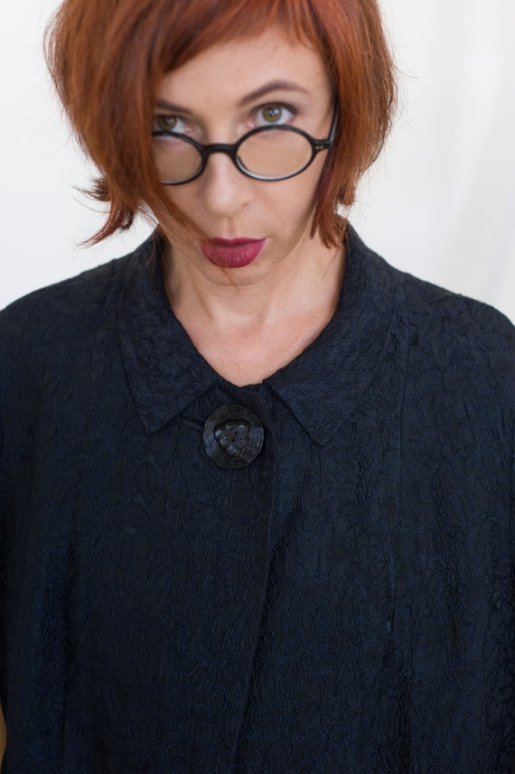 Black brocade jacquard opera coat, 60s women coat,