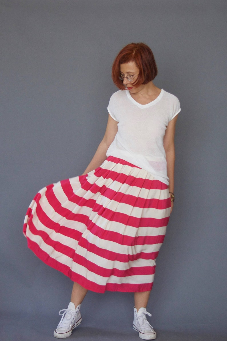 5945f156acd065 70s striped midi full skirt Crepe de Chine Fuchsia and Ivory