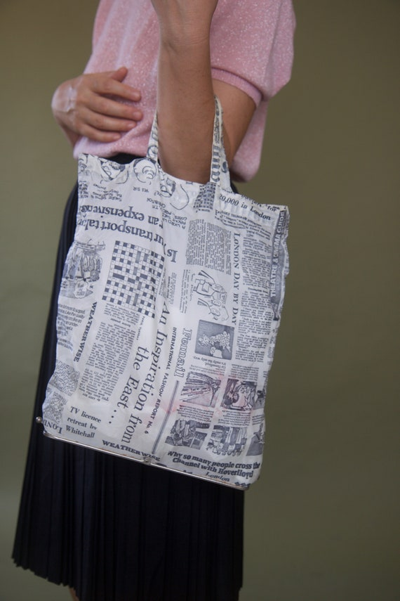 Vintage 70s folding market bag Eco bag Newspaper b