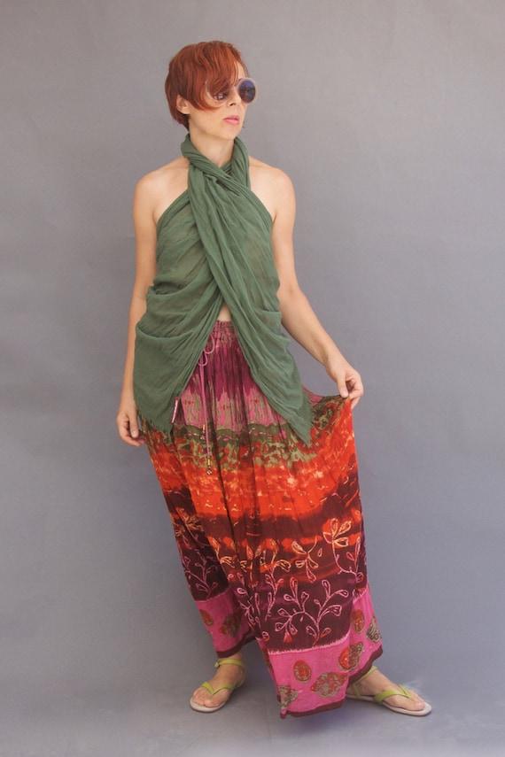 Vintage 70s maxi boho skirt Multicoloured skirt Bo