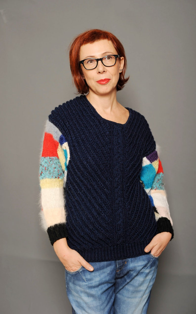 95334b5f2997a Ink blue ribbed cable knit pullover Colorblock sweater