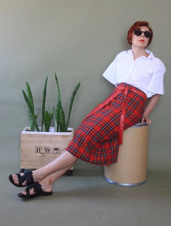 Red tartan 70s skirt Midi plaid skirt Wool checked