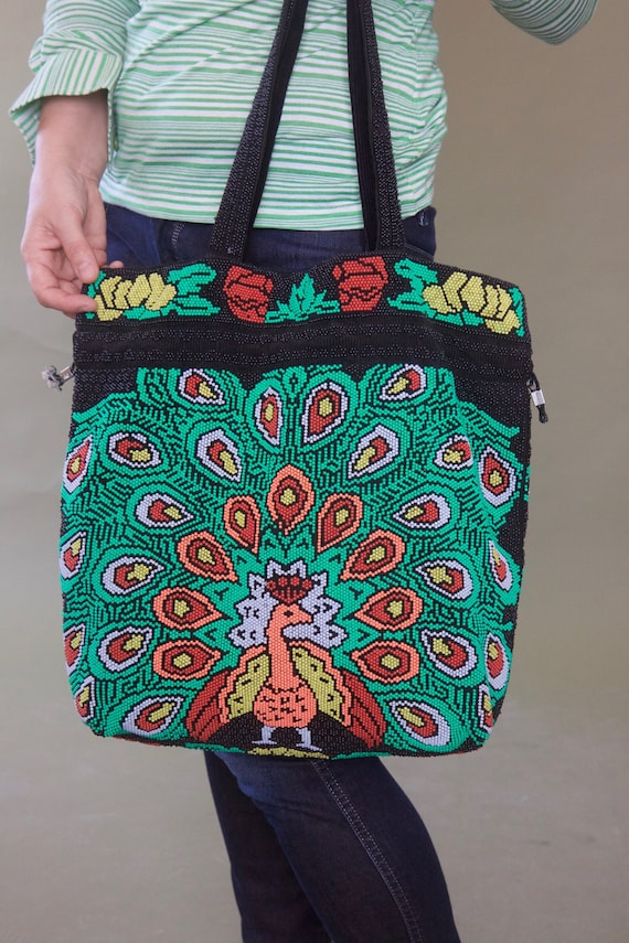 Vintage 70s shopping tote Beaded peacock market ba