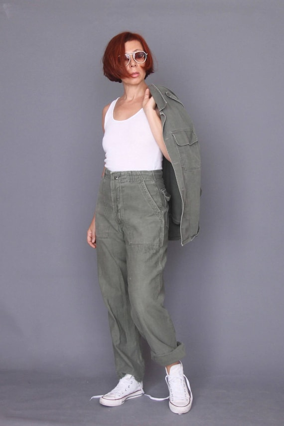 Vintage 80s military pants Olive green army pants