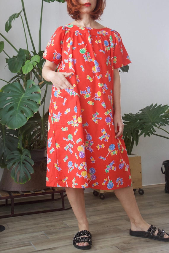 Novelty Lollypop print tent dress Tomato red sun d