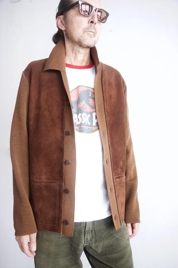 St Michael wool and suede men's cardigan Vintage 5