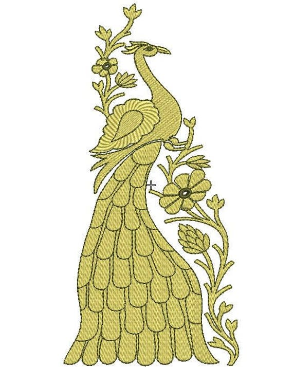 Royal Peacock Machine Embroidery Design Peacock Machine Etsy
