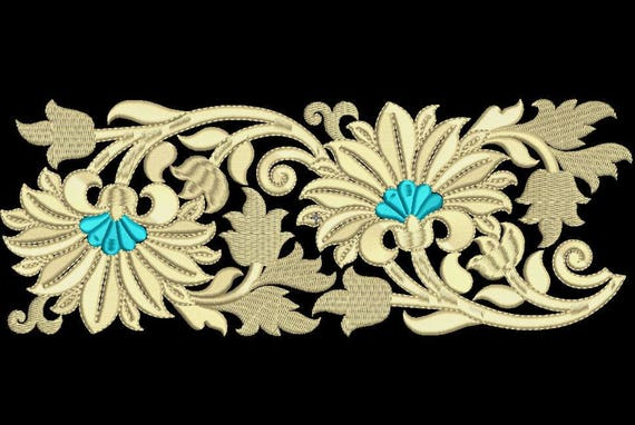 Lace Embroidery Design Gold Vintage Floral Border 2 Sizes Etsy