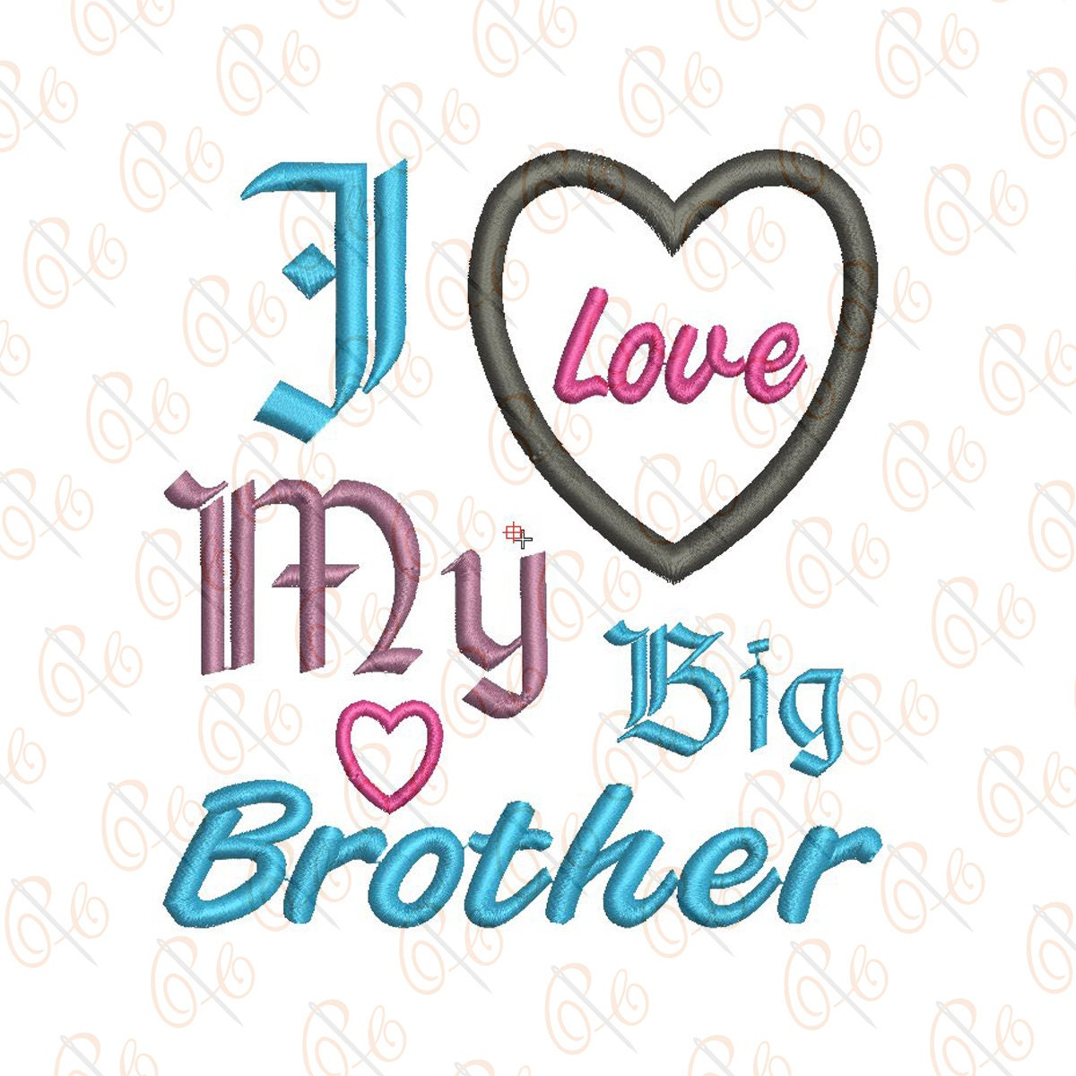24de3321c I Love My Big Brother Embroidery Design 4x4 5x7 INSTANT | Etsy