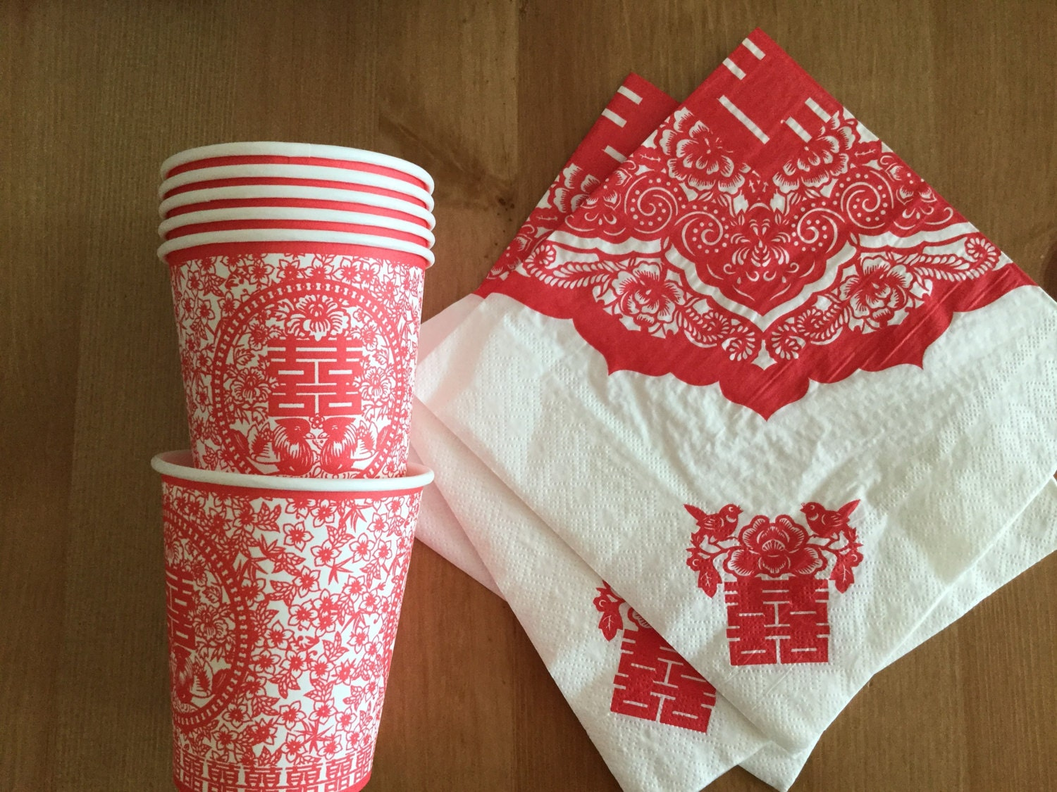 Chinese Wedding Paper cups and Napkins Double Happiness