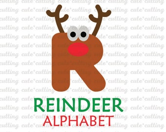 Reindeer Alphabet Svg, Reindeer letters svg, Reindeer numbers svg, dxf cutting files for Silhouette Cameo, Portrait, Curio, Cricut