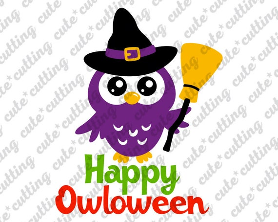 Happy Owloween Svg Happy Halloween Svg Owl With Witch Hat Etsy