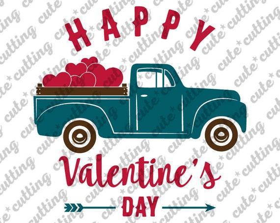 Hearts Valentine Svg CriCut Files Silhouette cameo Pickup Truck svg Valentines vintage Truck Valentines Day SVG Valentine Truck Svg