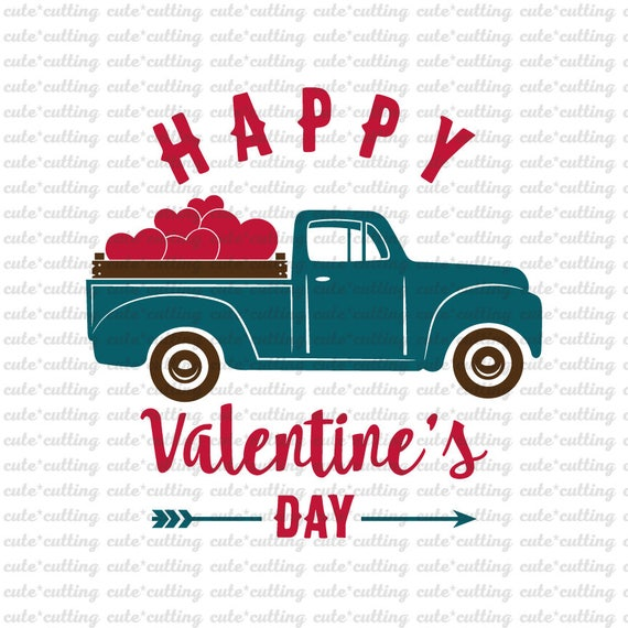 Valentines Truck Svg Truck With Heart Svg Valentines Day Etsy