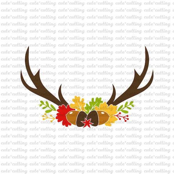 Antler Svg Autumn Svg Flower Svg Floral Svg Happy Fall Etsy