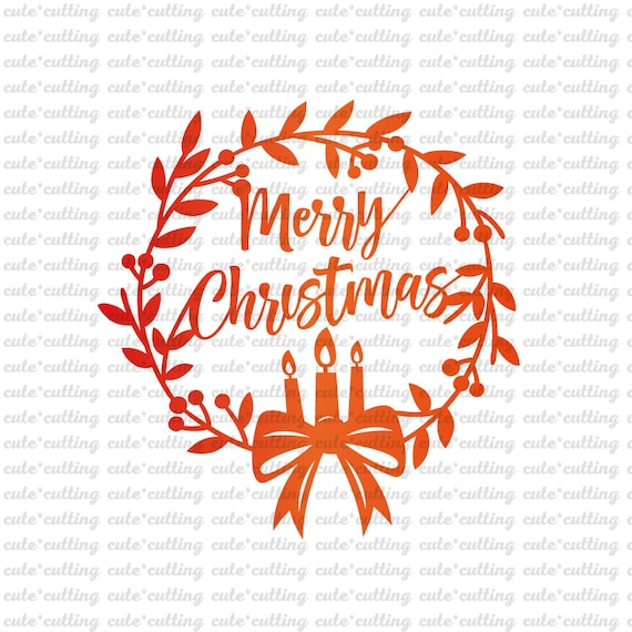 Christmas Wreath Silhouette.Christmas Svg Merry Christmas Svg Christmas Wreath Svg Happy Holidays Svg Pdf Dxf Jpeg Cutting Files For Silhouette Cameo Curio Cricut