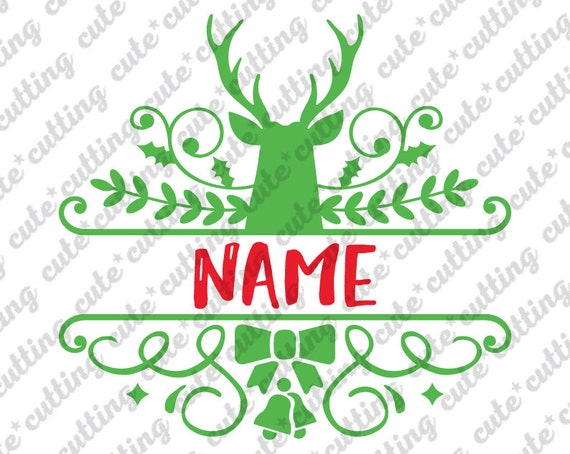 Reindeer Monogram Svg Reindeer Split Title Svg Christmas Etsy
