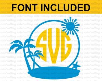Summer holidays svg, Island monogram svg, Palm Trees svg, Travel svg,dxf jpeg cutting file for Silhouette Cameo, Portrait, Curio, Cricut