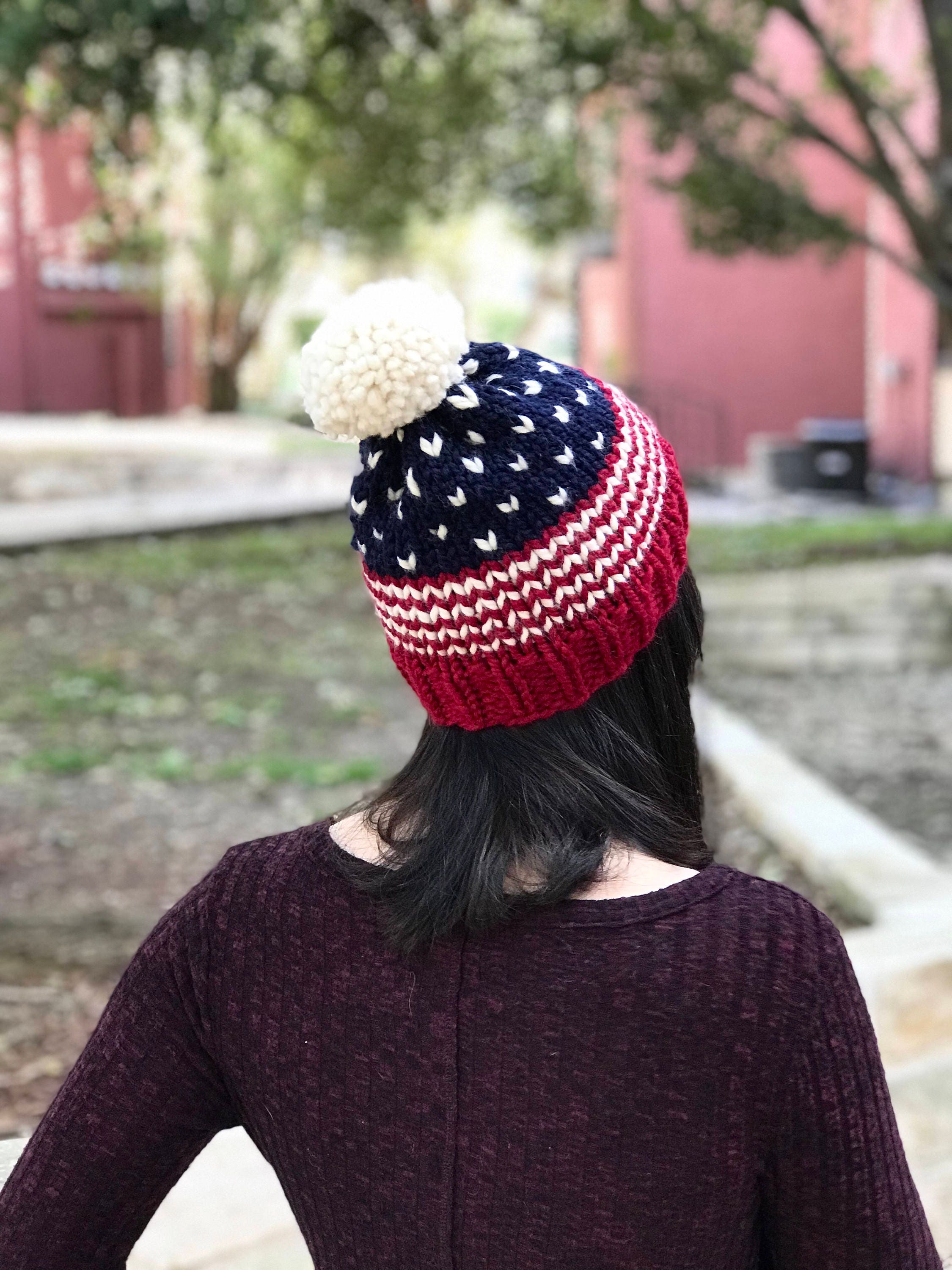 5d7fb15f7620f American Flag Knit Beanie    USA Red White and Blue Hat