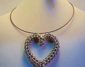Chainmail Heart pendant/chainmail hearth Pendant