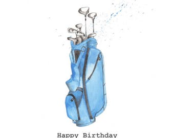 Golf Embellished Card Taken From An Original Watercolour Notelets Birthday Cards Thank You Blank