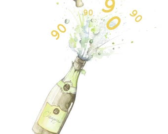 Happy 90th Birthday Champagne Embellished Card Taken From An Original Watercolour Notelets Cards Blank
