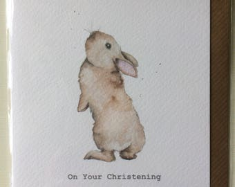 Bunny Christening Embellished Card taken from an Original Watercolour / Notelets / Christening Cards / Blank Cards