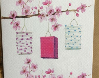 Lanterns & Blossom Embellished Card taken from an Original Watercolour / Notelets / Birthday Cards / Thank you Cards / Blank Cards