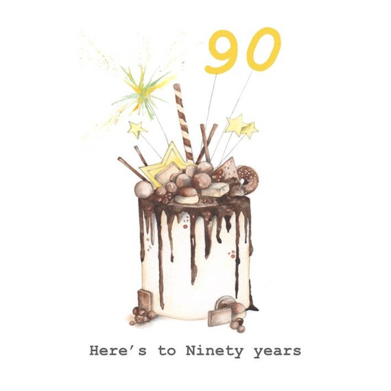 Happy 90th Birthday Cake Embellished Card Taken From An