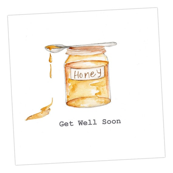 Plaster Get Well Soon Embellished Card taken from an Original Watercolour  Notelets  Get Well Soon Cards  Blank Cards