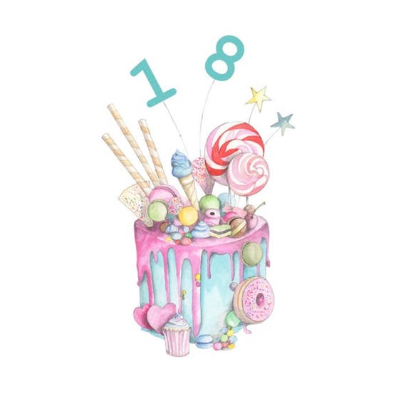 Marvelous Happy 18Th Birthday Cake Embellished Card Taken From An Etsy Funny Birthday Cards Online Hetedamsfinfo