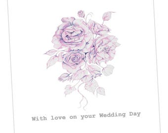 Wedding Day Bouquet Embellished Card taken from an Original Watercolour