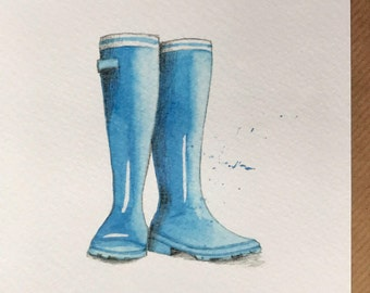 Blue Wellies Embellished Card taken from an Original Watercolour / Notelets / Birthday Cards / Thank you Cards / Blank Cards