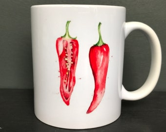 China Mug with an Original Watercolour Image of a Red Chilli