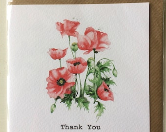 Poppies Thank You Embellished Card taken from an Original Watercolour / Notelets / Birthday Cards / Thank you Cards / Blank Cards