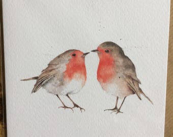 Robins Embellished Card taken from an Original Watercolour / Anniversary Cards / Valentines Cards / Thank You Cards / Birthday Cards