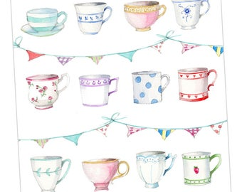 Tea Cups & Bunting Embellished Card taken from an Original Watercolour / Notelets / Blank Cards / Thank You Cards