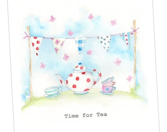 Time for Tea & Bunting Embellished Card taken from an Original Watercolour / Notelets / Blank Cards / Thank You Cards