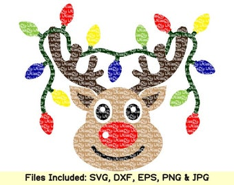Reindeer svg deer head names face christmas lights monogram svg files for  cricut silhouette shirt ornament decal clipart design dxf cut file a95ac132d