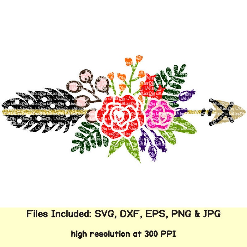 Floral svg boho flower tribal arrow feather svg clipart welcome wedding  monogram svg files for Cricut Silhouette design sign dxf cut files