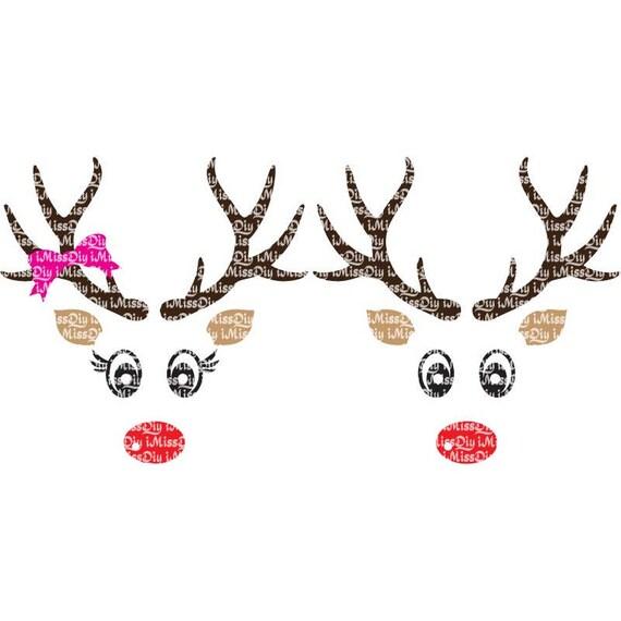 Face à Noël Svg Renne Svg Bundle Noms Cerf Tête Bois Etsy