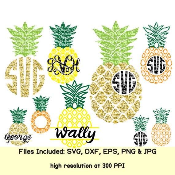 Pineapplesvg Monogram Svg Hawaii Summer Svg Tropical Beach Etsy