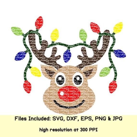 Reindeer Svg Deer Head Names Face Christmas Lights Monogram Etsy