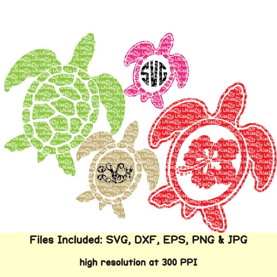 Sea turtle svg summer svg Hawaii turtle aloha life beach hibiscus flower  monogram svg files for cricut silhouette design decals Dxf cut file