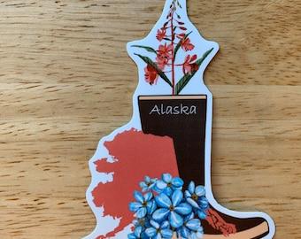 RAIN BOOT and Fireweed Alaska Vinyl Sticker