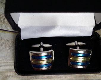 Blue striped cufflinks