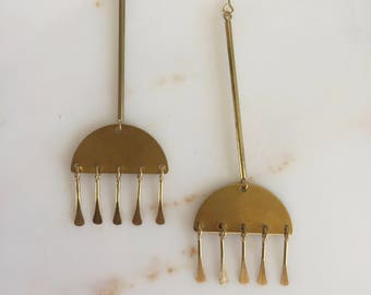 Brass Earrings, Minimalist Earrings, Dangly Earrings, Half Circle Earrings, Paddle Pin Earrings,