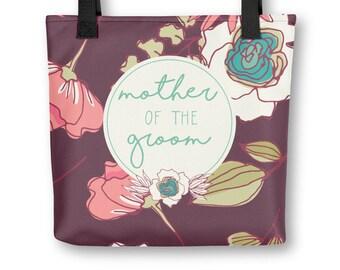 Tote bag - Joyful Flowers - Mother of Groom - maroon