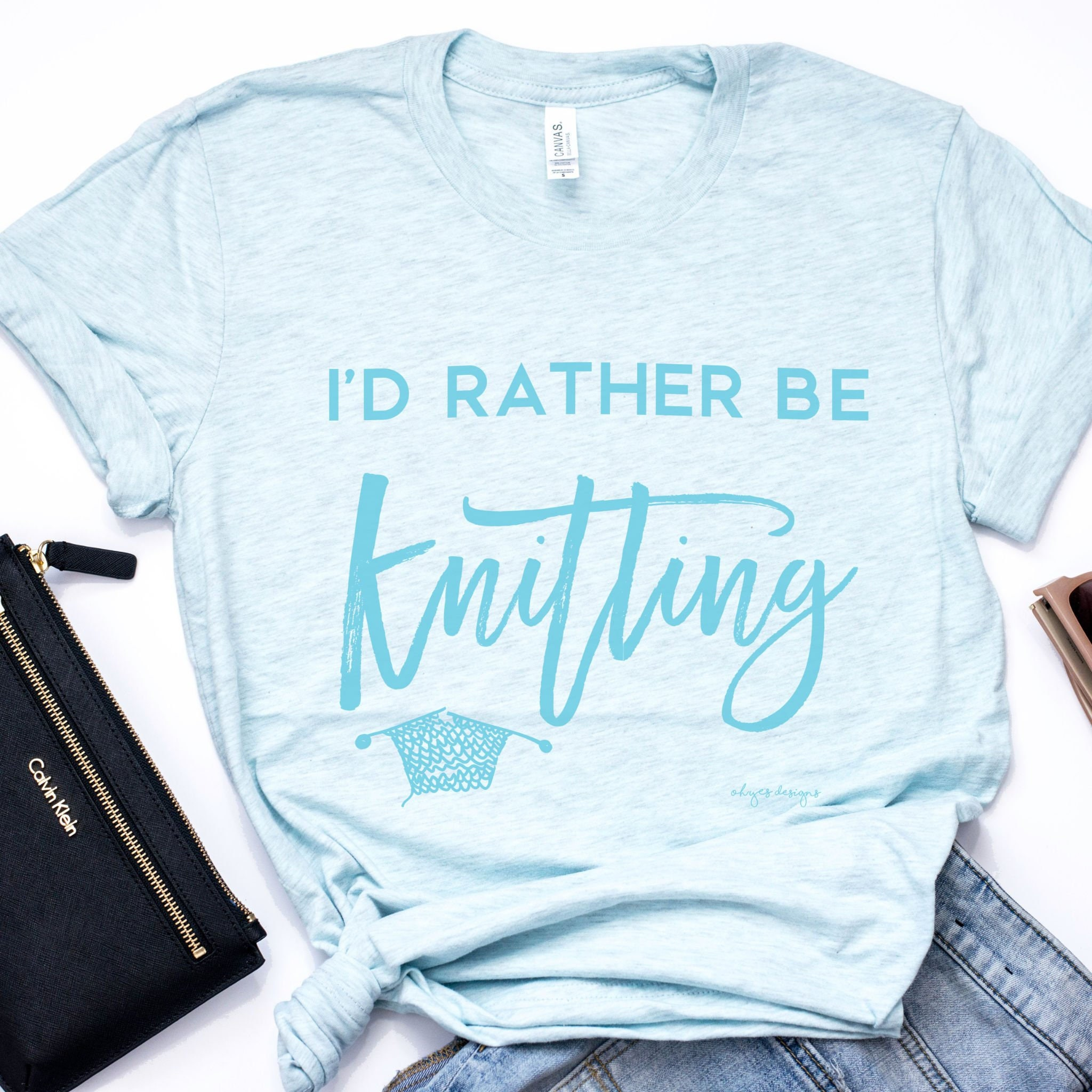 Knitters T Shirts Id Rather Be Knitting In Ice Blue Etsy