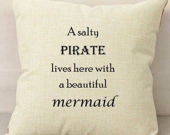 Pirates and Mermaids - Fathers Day Cushion - Present For Dad - Gift For Men - Birthday Present For Him - Polyester Canvas - Home Decor